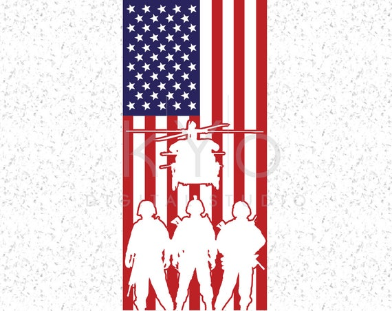 American Flag With Military Silhouettes Svg Veterans Day svg files Presidents Day svg Memorial day svg US military svg American flag svg