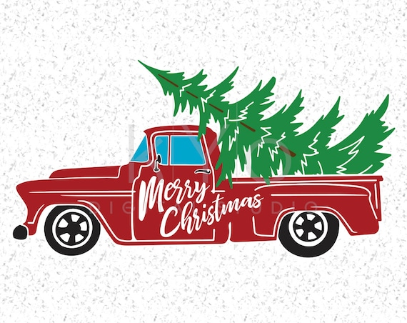 Christmas Truck SVG DXF Png Studio3 Eps cutting files, Merry Christmas Svg, Red Old Retro Christmas tree truck, Christmas tree farm SVG