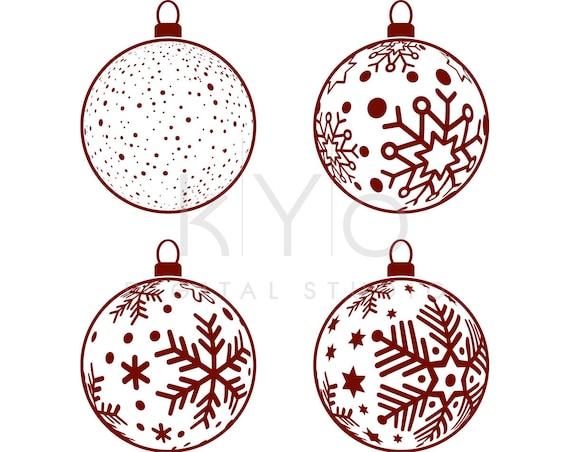 Christmas Snowflake Bulb Svg Dxf Png Studio3 Eps cutting files, Christmas Tree Ball decorations Svg, Christmas Tree Ornaments SVG