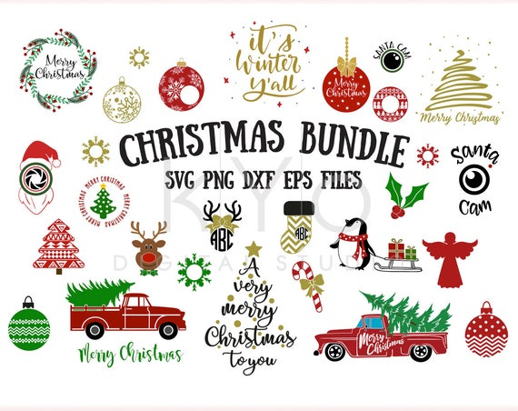 Christmas SVG Bundle 150+ Designs, Christmas tree wreath red truck rudolph reindeer monogram angel snow flake ball santa cam svg png dxf eps