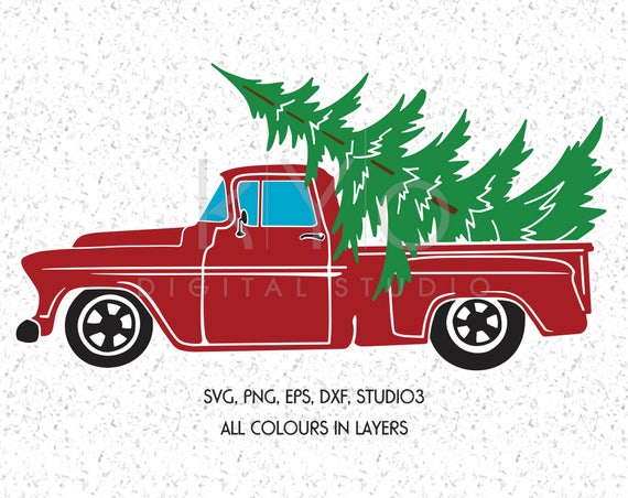 Christmas Truck SVG DXF Png Studio3 Eps cutting files, Merry Christmas Svg, Red Old Retro Christmas truck, Christmas tree farm SVG