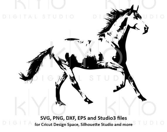 Horse Silhouette Equestrian SVG png dxf studio3 files for Cricut and Silhouette horse racing svg horse riding svg distressed horse shades