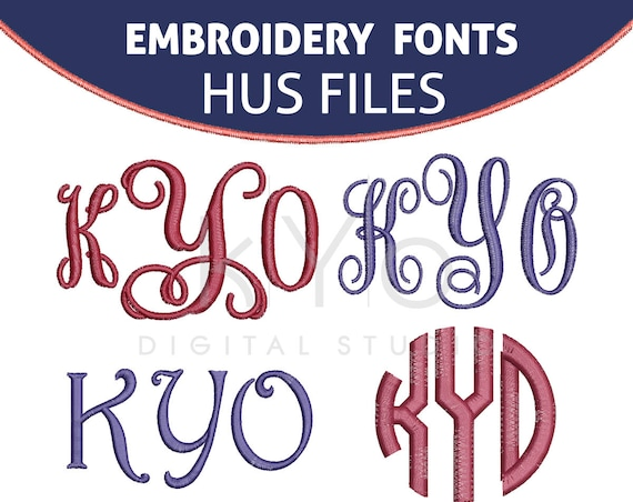 Embroidery Fonts HUS, Embroidery monogram fonts pack, Interlocking embroidery font, Circle Vine Embroidery font Husqvarna embroidery designs