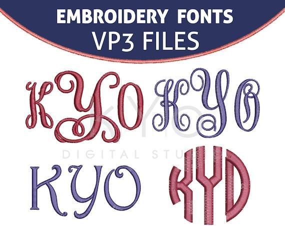 VP3 Embroidery Monogram Fonts Bundle, VP3 Embroidery files, Interlocking Vine Circle Monogram Harrington embroidery files