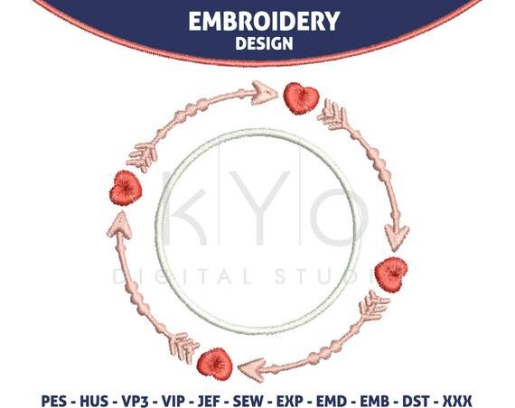Valentine Embroidery design 4x4 Heart, Arrow, Wedding monogram frame embroidery