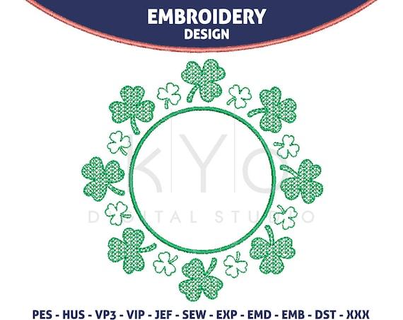 St Patricks Day Shamrock Embroidery design, Clover machine embroidery monogram frame, HUS exp JEF vip VP3 PES embroidery files designs