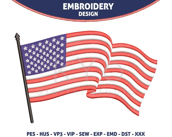 US American flag Embroidery design 4th of July Independence day embroidery design hus vip SEW dst VP3 exp PES files machine embroidery