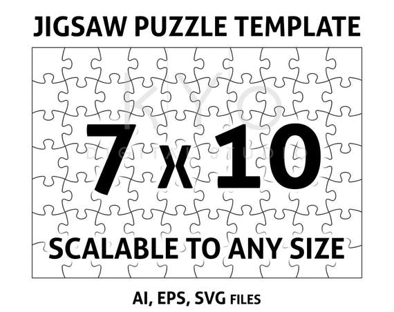 Jigsaw Puzzle Template AI EPS SVG dxf files, Jigsaw Puzzle svg, Scalable puzzle template, printable puzzle template