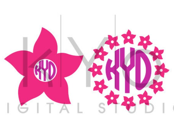 Summer Flower Monogram Frame SVG DXF cutting files for Cricut Explore and Silhouette Cameo