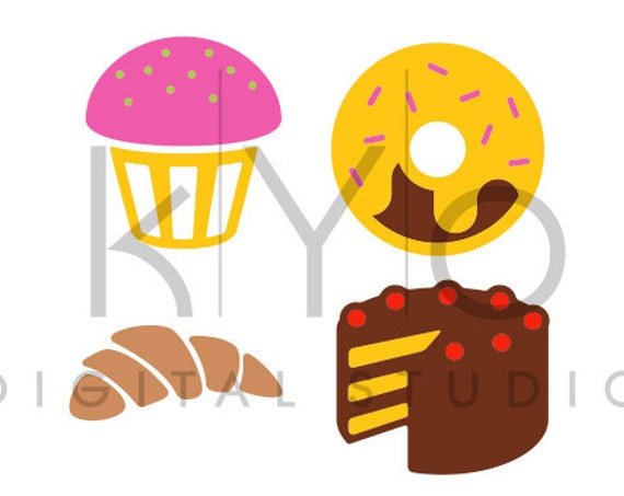 Cakes SVG cutting file, Croissant SVG, Birthday Cake svg files, Doughnut SVG files, svg files for Cricut and Silhouette, Cameo files