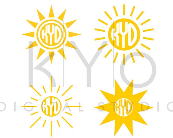 Sun Monogram SVG cutting file, Sun SVG files, Summer svg files, svg files for Cricut and Silhouette, Cameo files, digital files