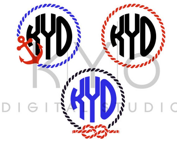 Rope Monogram SVG cutting file, Anchor Rope Monogram Frame SVG, Nautical svg files, svg files for Cricut and Silhouette, Cameo files