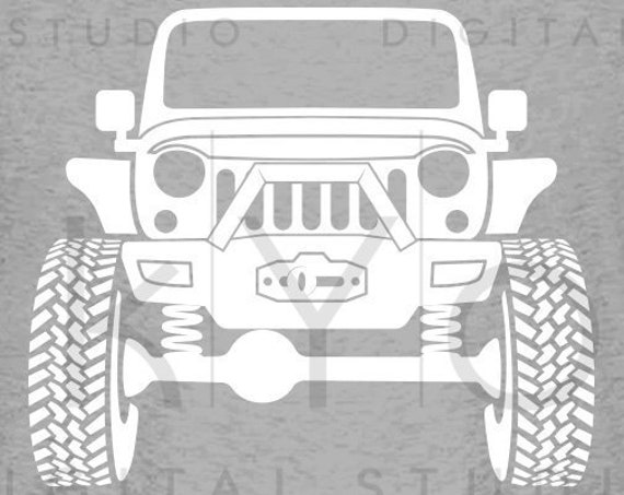 Jeep Wrangler Rubicon with winch Off road 4x4 svg png dxf eps files Monster truck svg Jeep shirt svg files for Cricut Silhouette cut files