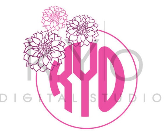 Flower Monogram SVG cutting file, Dahlia SVG, Dahlia Flower Monogram svg, svg files for Cricut and Silhouette, Cameo files