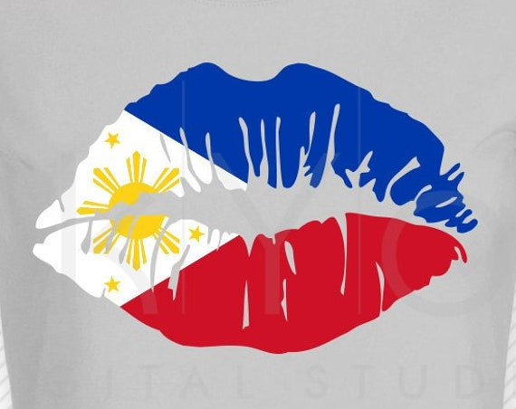 Philippines flag Girl Lips svg png dxf eps Philippines svg Clipart Vector graphic Asian country flag svg files for Cricut Silhouette