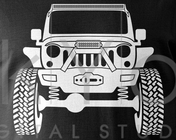 Raised Jeep Wrangler with winch Off road 4x4 svg png dxf eps files Monster truck svg Jeep shirt svg files for Cricut Silhouette cut files