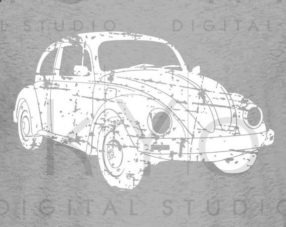 Distressed Volkswagen Beetle svg Car silhouette svg VW Bug svg Retro car svg VW svg files for cricut silhouette vector graphic shirt design