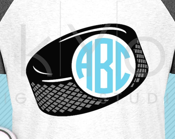 Ice Hockey svg Ice Hockey puck monogram svg Hockey puck svg Hockey mom shirt svg Hockey player svg files for Cricut Silhouette dxf files