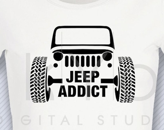 Wrangler Jeep Addict svg American jeep front silhouette svg Jeep Wrangler shirt design Hot rod 4x4 svg files for Cricut Silhouette cut files