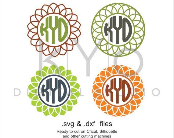 Circle Flower Monogram frames SVG cutting file, Flower monogram svg files, svg files for Cricut and Silhouette Cameo files, digital download