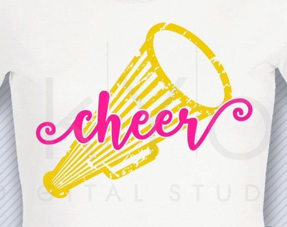 Cheer Megaphone svg png dxf eps files Cheer mom svg Distressed cheer leader shirt svg files for Cricut Design space Silhouette Studio