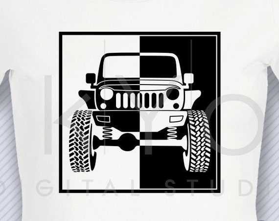 Jeep Wrangler svg Jeep front silhouette split svg png dxf Jeep Wrangler shirt design Off road 4x4 svg files for Cricut Silhouette cut files