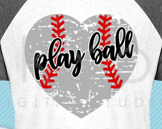 Play ball svg Baseball heart svg Distressed heart svg grunge baseball heart svg png iron on svg baseball mom svg files for cricut silhouette