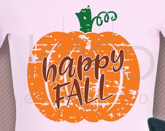 Distressed Happy Fall Pumpkin Shirt design svg png dxf eps files