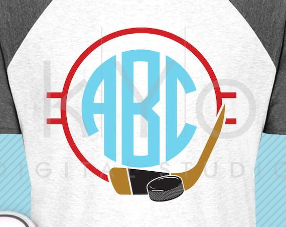 Ice Hockey monogram svg Hockey puck and stick svg Hockey mom svg Ice hockey svg Hockey player shirt svg files for Cricut Silhouette dxf file