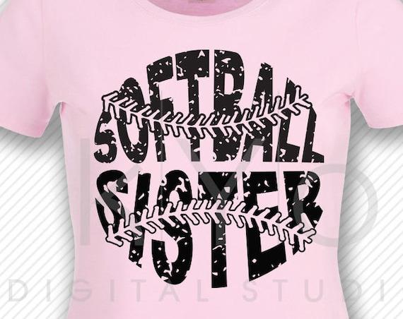 Softball SVG Softball Sister SVG, Stitches svg, distressed softball svg studio3 png grunge softball htv design svg Softball tshirt svg