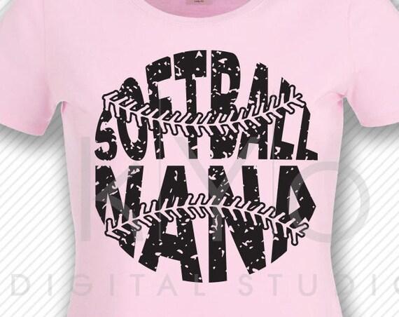 Softball SVG Softball Nana SVG, Stitches svg, distressed softball svg studio3 png grunge softball htv design svg Softball tshirt svg