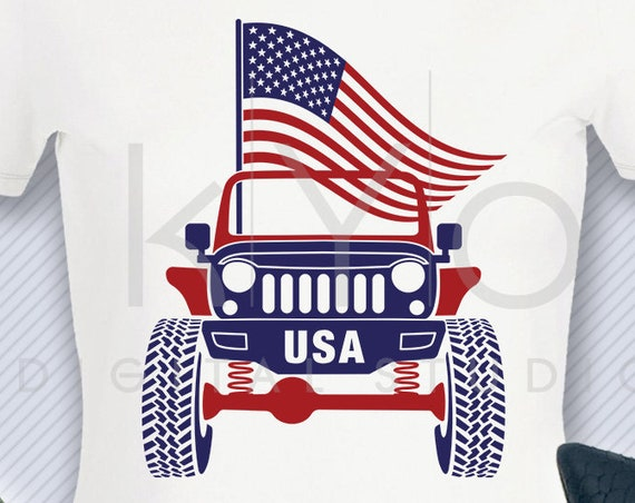 4th of July Jeep svg US American flag svg Patriotic Jeep Wrangler svg Off road 4x4 svg files svg files for Cricut Silhouette cut files