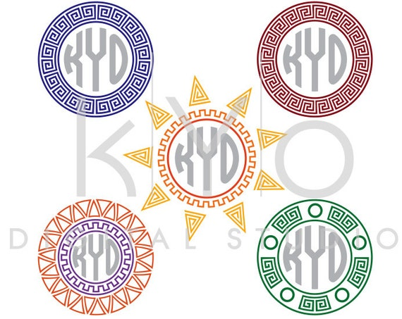 Greek Monogram SVG files Ancient Greek svg Greek pattern svg Greek Ornament svg, Circle monogram svg cut files for Cricut and Silhouette
