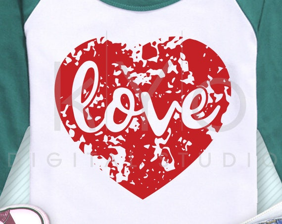 Distressed Heart with Love svg Love heart svg Heart t shirt SVG Grunge heart svg files for Cricut Explore Silhouette Cameo #heartsvg
