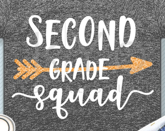 Second grade squad svg png dxf eps files 2nd grade shirt svg Back to school svg Squad shirt svg for Cricut Design space Silhouette cut files