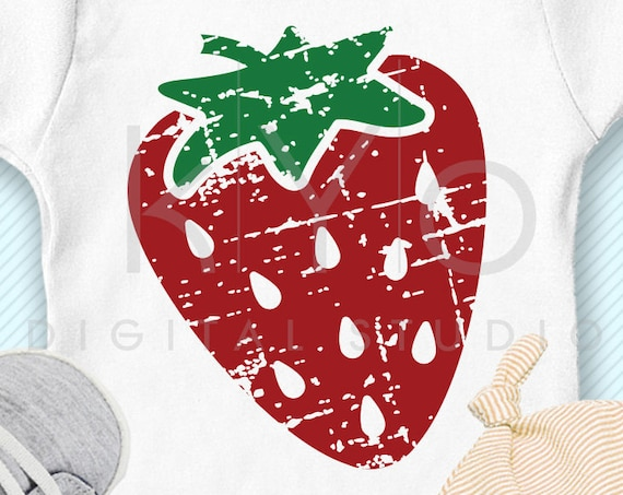 Distressed Strawberry svg, Summer fruit svg, berries svg, Grunge svg, iron on design svg png dxf files for cricut silhouette kids shirt svg