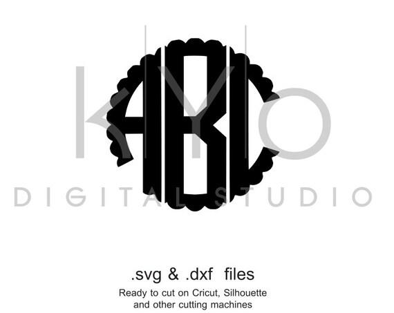 Scalloped Circle Monogram font SVG Scalloped alphabet svg dxf png studio, Scalloped Monogram svg Cricut fonts Silhouette Fonts