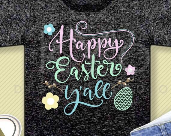 Happy Easter Yall svg Easter SVG Happy Easter SVG Easter quote svg Easter egg svg files for Cricut Explore Silhouette Cameo