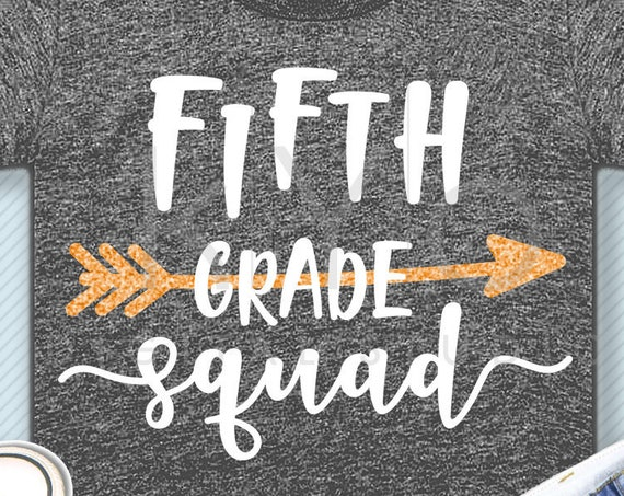 Fifth grade squad svg png dxf eps files 5th grade shirt svg Back to school svg Squad shirt svg for Cricut Design space Silhouette cut files