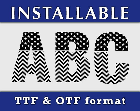 American US Flag Pattern Installable True Type fonts for Cricut Silhouette, TTF Fonts, OTF Fonts