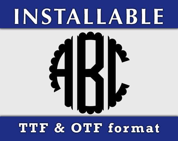Scalloped Circle Monogram Installable True Type font, OFT TTF font, Scalloped monogram svg, cricut fonts