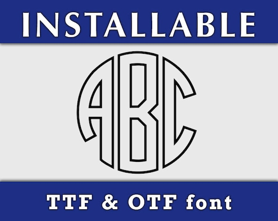 Circle Monogram True Type Font TTF, Cricut monogram font, Outline monogram font, TTF True Type Monogram Font, Silhouette fonts, Cricut font