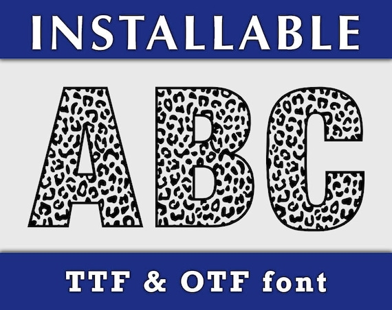 Leopard Pattern TTF Font, Installable font, True Type font, TTF font, Cheetah Patterned font letters, Cricut font, Silhouette Cameo font