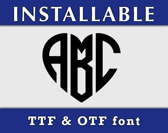 Heart Monogram Font, Heart Font Monogram, Cricut True Type Monogram Font otf font Silhouette fonts