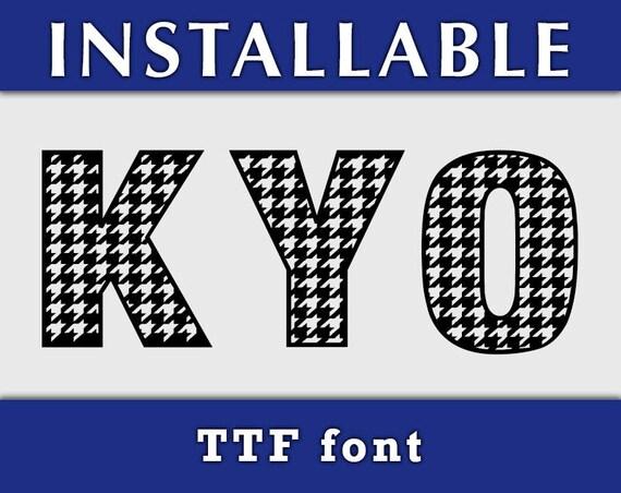Houndstooth Pattern TTF Font, True Type Font, Installable typing font, TTF font for Cricut, Cricut fonts, Silhouette fonts