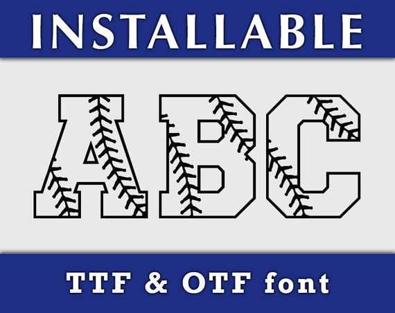 Baseball Stitches TTF font, true type font, Installable font, Softball Stitches letters, digital font, Cricut font, Silhouette Cameo font