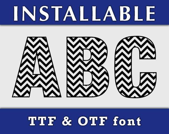 Chevron Pattern TTF Font, Installable font, True Type font, TTF font, Patterned font, Chevron Letters, Cricut font, Silhouette Cameo font