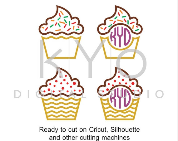 Cupcake SVG files, Cupcake Monogram dxf png eps cut and print files, Cupcakes Sprinkles svg, svg files for Cricut and Silhouette, svg files