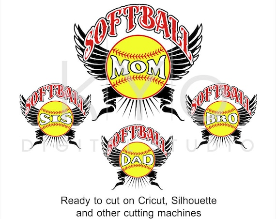 Softball SVG cut files, Softball Mom svg, Softball Dad svg, Softball Sis svg, Softball Bro stitches svg cut files for Cricut and Silhouette