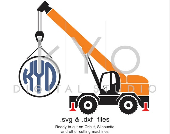 Construction and Transportation SVG cut file, Crane SVG, Circle Monogram frame svg, cutting files for Cricut Explore and Silhouette Cameo